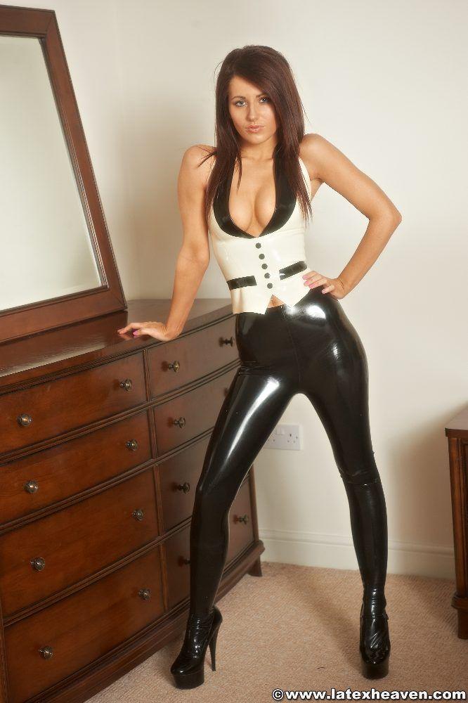 Shiny leggings and high heels 9