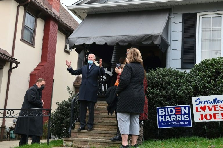 Democratic presidential candidate Joe Biden has repeatedly returned to his roots, literally and figuratively, during an 18-month campaign, including this visit to his childhood home in Scranton, Pennsylvania on Election Day, November 3, 2020. #childhoodhome #electionday #JoeBiden #Wall #WiththeGraceofGod