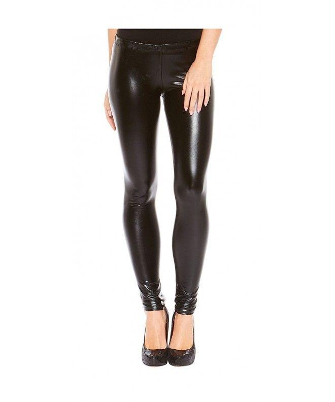 f0495f730ff49 Women's Metallic Stretch Leggings - Liquid Wet Look- Slim Fit - Black -  C4128VX5GE9,Women's Clothing, Leggings #Leggings #sexy #style #Leggings