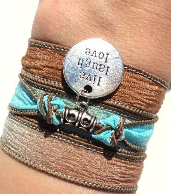 Live Laugh Love Silk Wrap Bracelet Inspirational Yoga