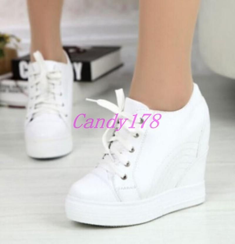 96da681881ad Fashion Women Casual Lace Up Athletic Leather Tennis Sneakers Hidden Wedge  Shoes