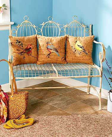 Birdcage Bench Or Bird Themed Pilllows Decorating Ideas