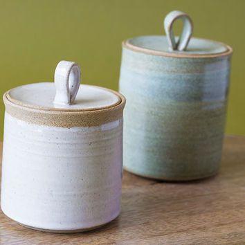 Pottery Jar Containers Ceramic With Lid Salt Cellar Lidded Storage Jars Set Of 2