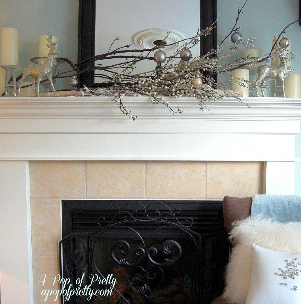 January Decorating Ideas: Simple Christmas Mantel Decor (Branches & Bulbs