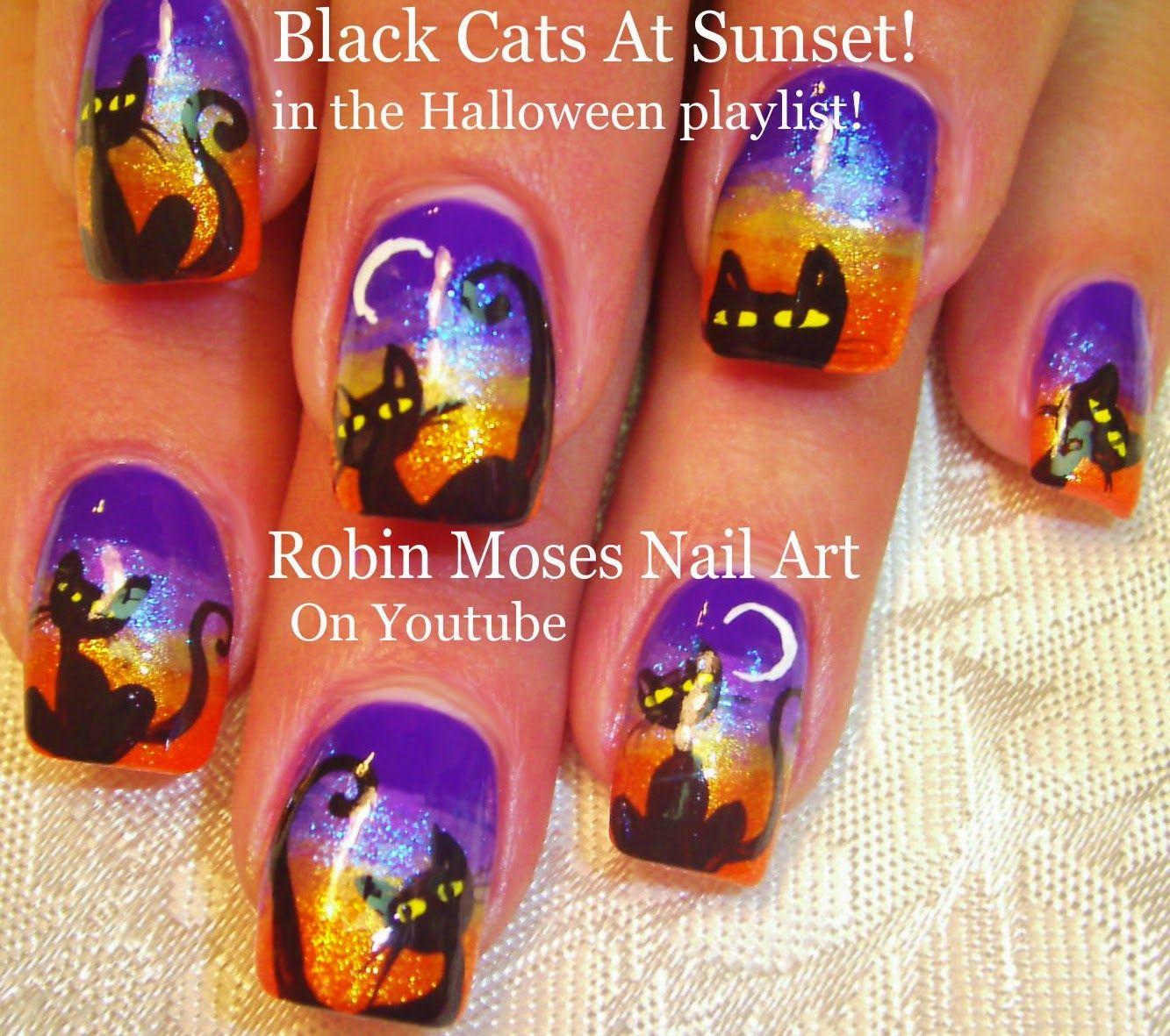 Robin Moses Nail Art Cat Clip Art Halloween Cats Halloween