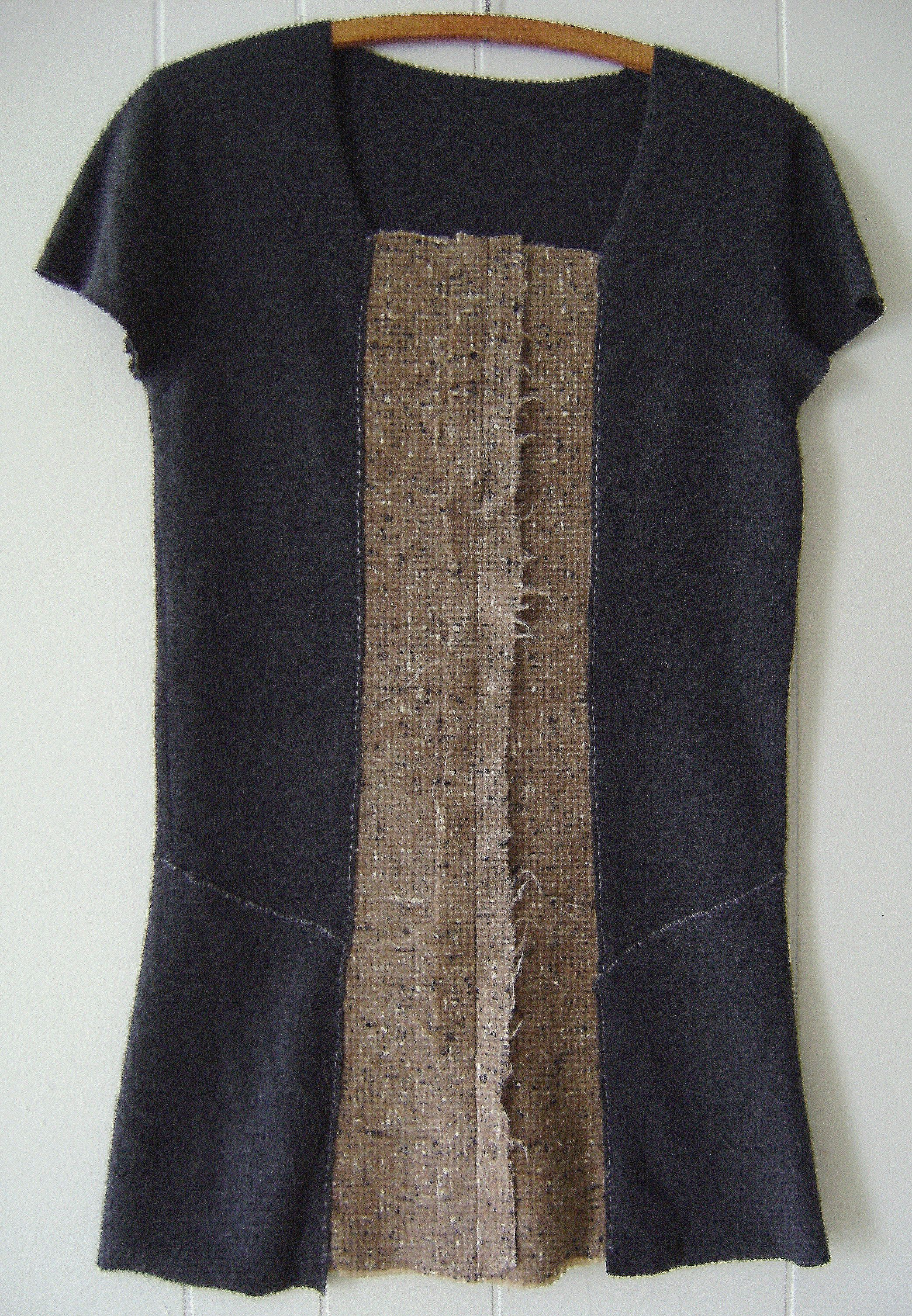 Hand stitched & repurposed charcoal gray cashmere sweater dress w ...