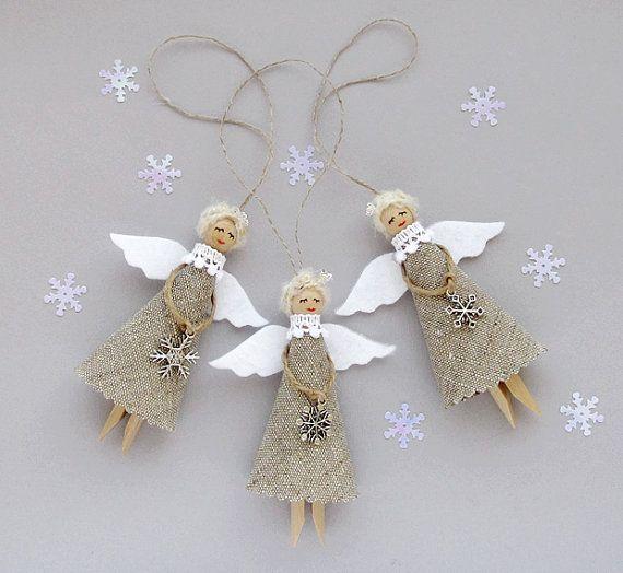 Burlap Christmas Angels Set of 3 Rustic Tree by VasilinkaStore