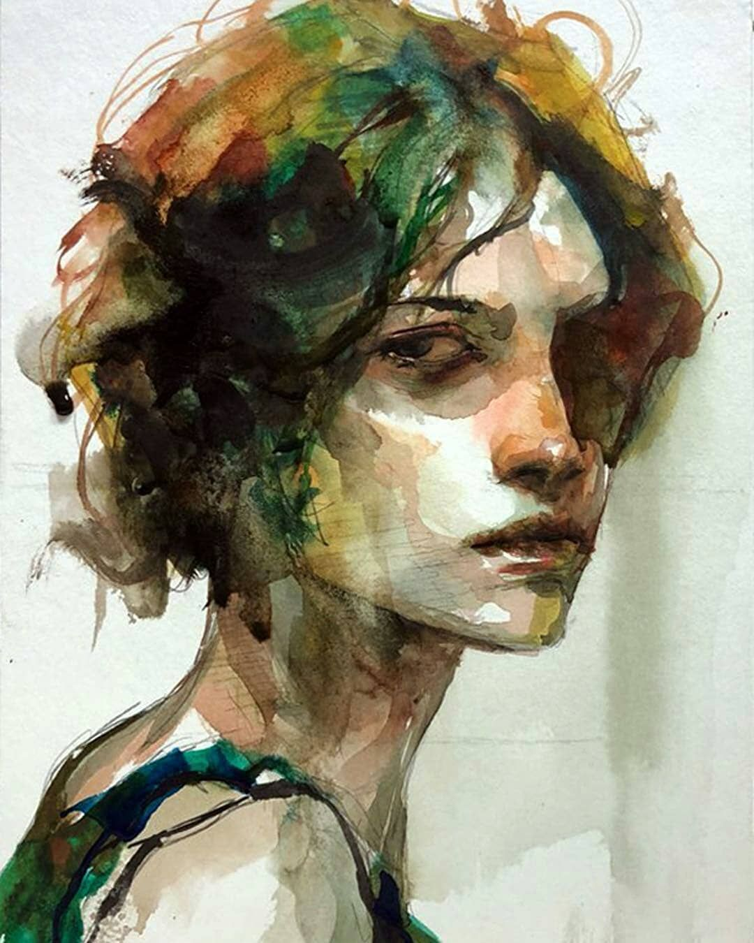 Repost Bj00100 Artist Watercolor Portrait Painting