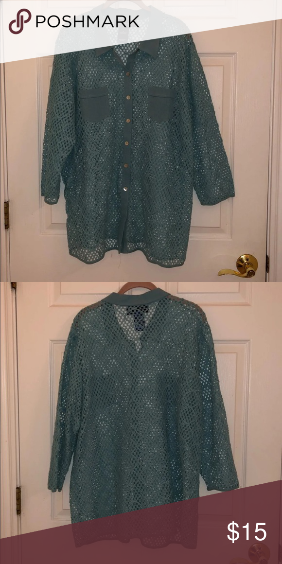 ac379a42480 Susan Graver Button Down Shirt Pattern: knit with button down Worn: Once  Made Up: 72% Polyester & 28% Cotton Made in China Susan Graver Tops Button  Down ...