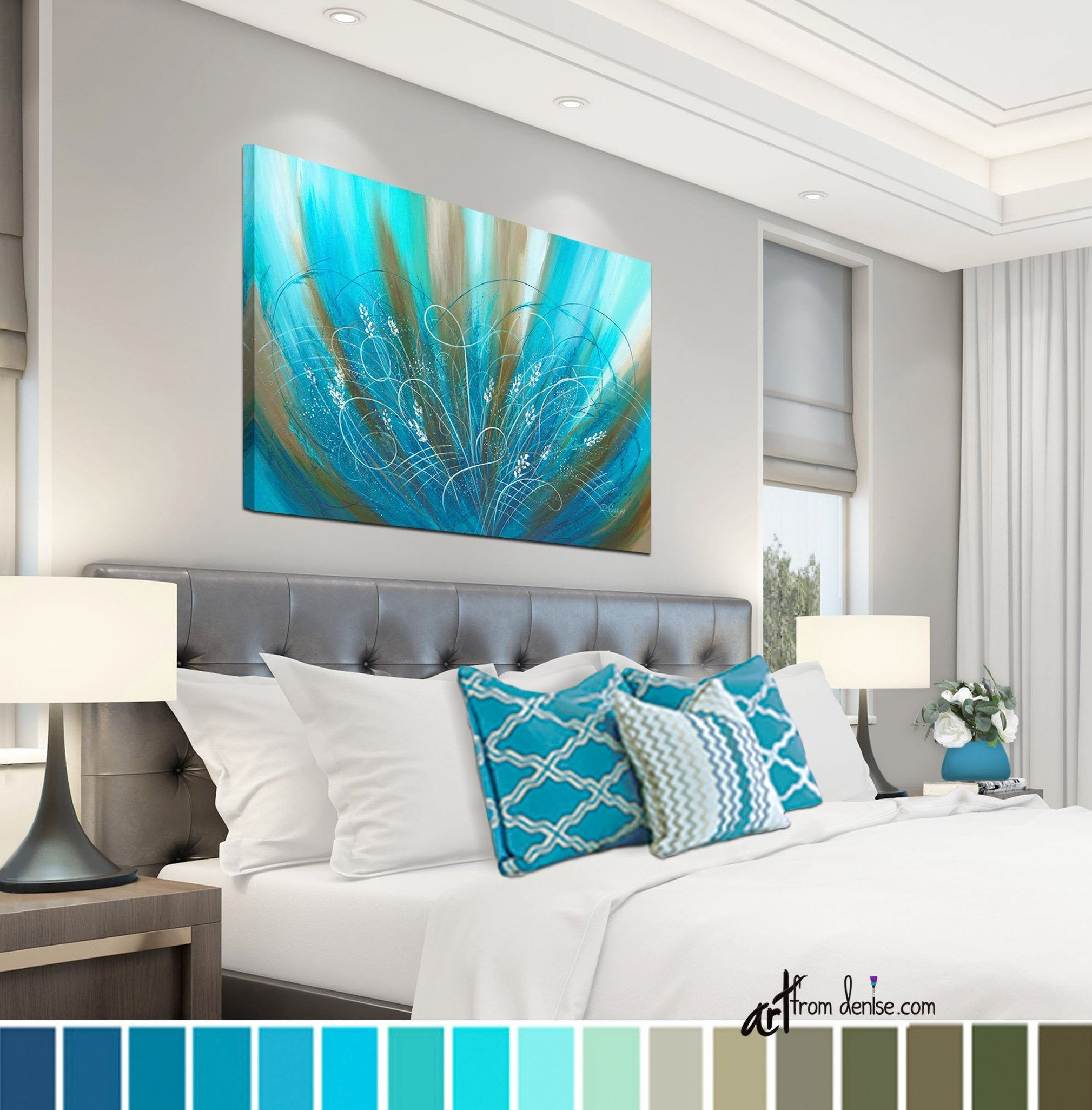 Bedroom picture, Flower art work / Brown aqua blue turquoise