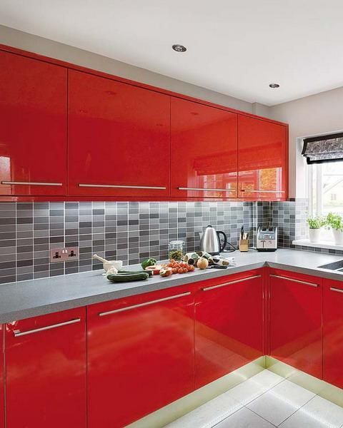 50 Plus 25 Contemporary Kitchen Design Ideas Red Kitchen Cabinets For Small Spaces Modern Kitchen Design Kitchen Design Color Red Kitchen Cabinets