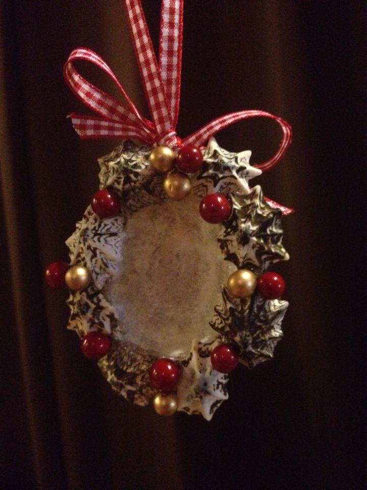 Shell wreath/photo frame Christmas ornament