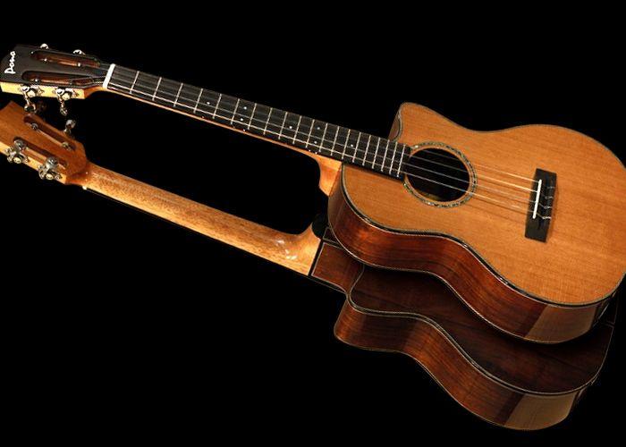 Solid Cedar Or Spruce Top Solid Rosewood Back And Sides Koa Binding With Wood Purfling Ebony Faceplate Fingerboard And Bridge Hi Pearl Logo Ebony Ukulele