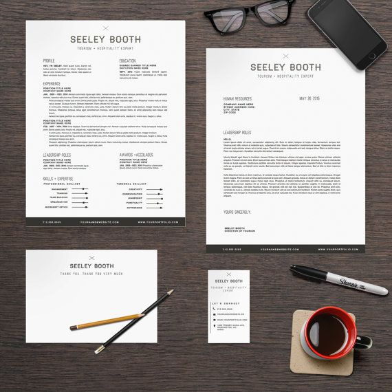 Resume Template Package CV Template + Cover Letter + Business - resume business cards