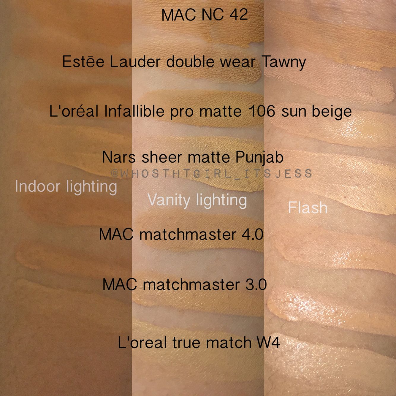 Seasonal shades liquid foundation swatches  highly recommend the estee lauder double wear and also rh pinterest