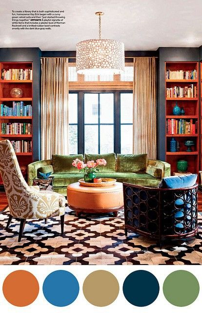 Creative Living Rooms For Style Inspiration Palette: Dark Blue, Orange And Green