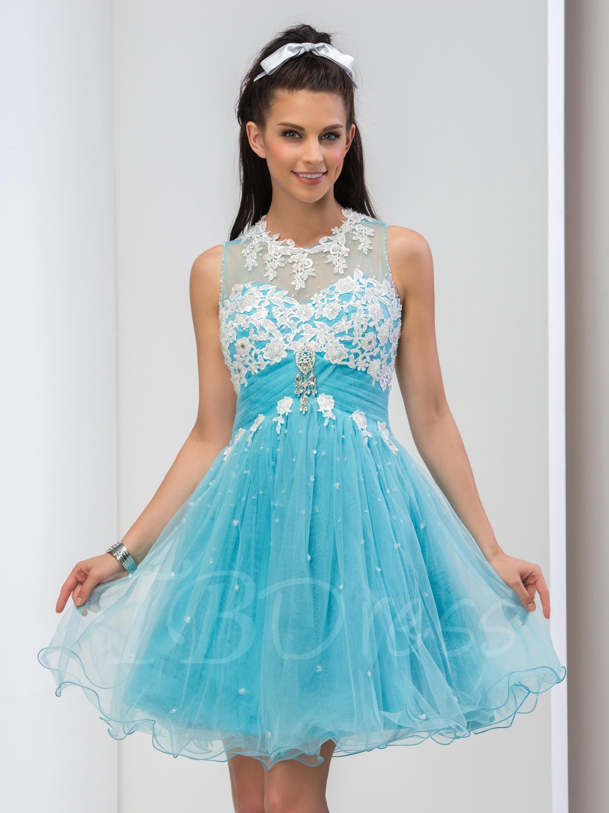 cc77ed3eca0  TBDress -  TBDress Jewel Neck A-Line Appliques Beaded Crystal Short Prom  Dress