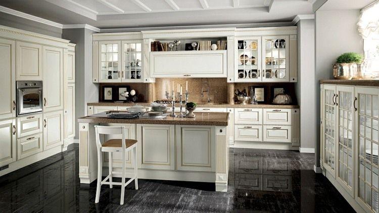 Klassische weiße Küche mit schwarzem Laminatboden | Küchen ...