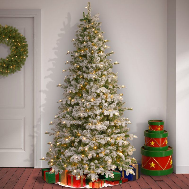 Frosted Green Faux Fir Artificial Christmas Tree with White Light