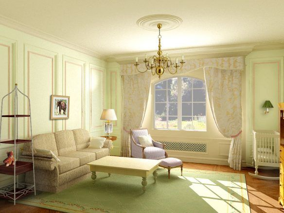 Living Room, Classic White Drapery Design Floral Chandelier Classic ...