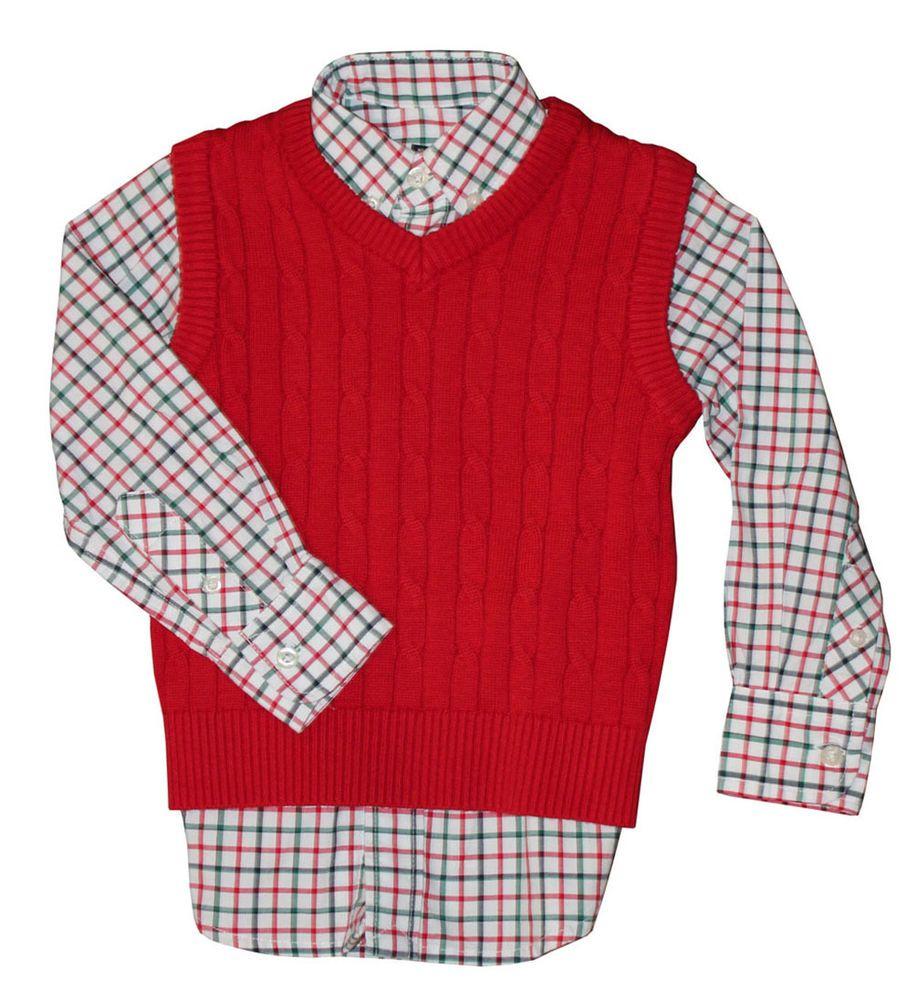 966c676af Eland Boys New Christmas Plaid Button Up Shirt & Matching Red Sweater Vest  4-7 #ELandAmericanClassic #DressyHoliday