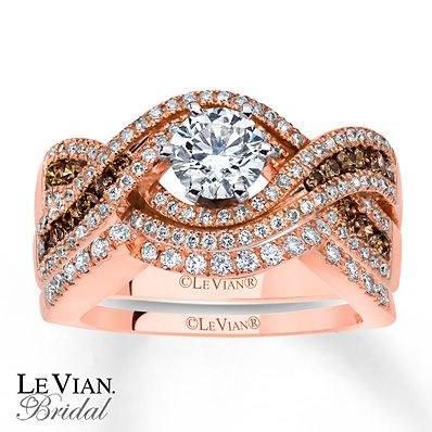 Levian Chocolate Diamonds 1 1 3 Ct Tw Bridal Set 14k Gold Chocolate Diamond Ring Engagement Levian Jewelry Wedding Rings