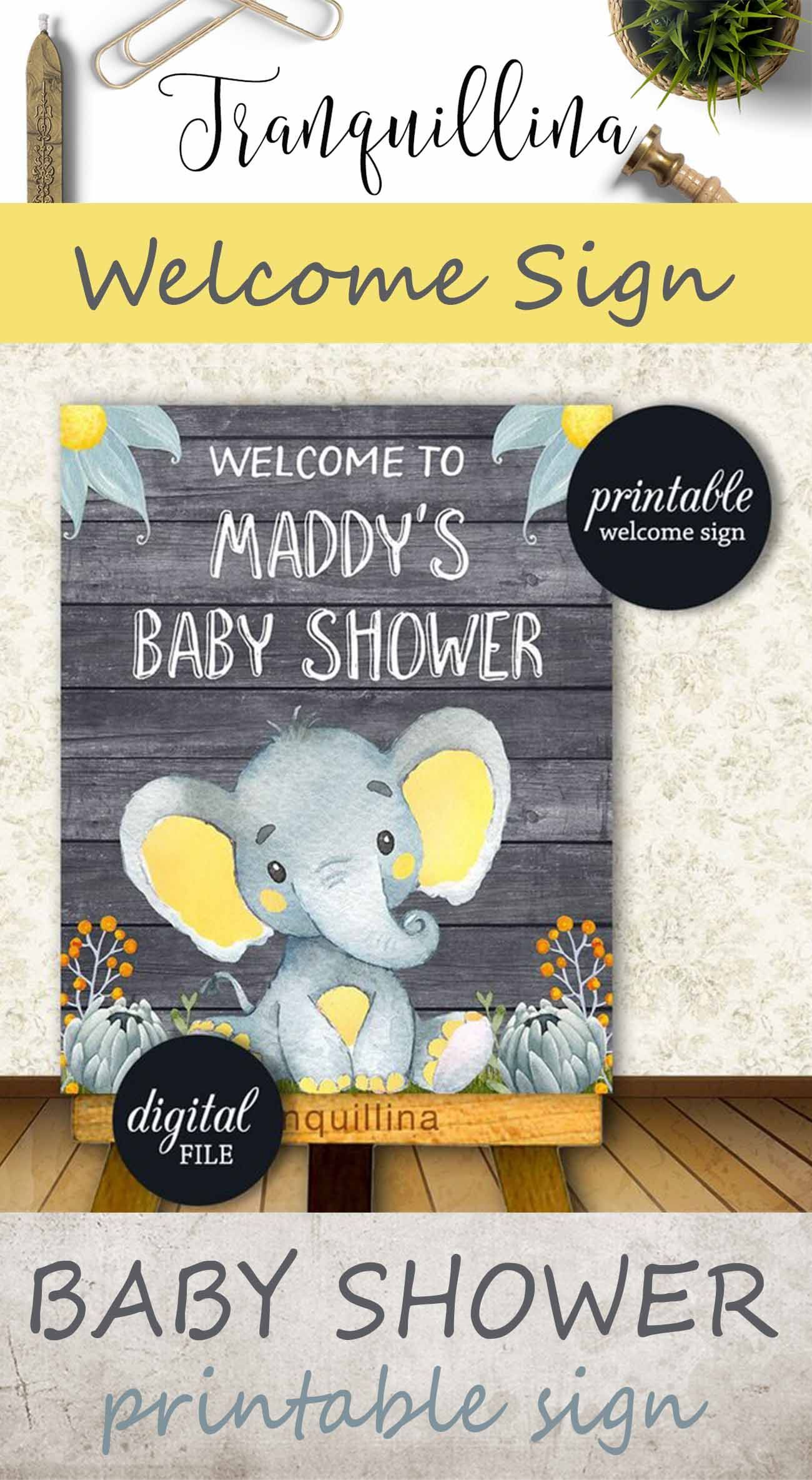 Baby shower welcome sign printable Customized welcome sign Elephant jungle baby shower decor Safari theme shower shower ideas shower trends