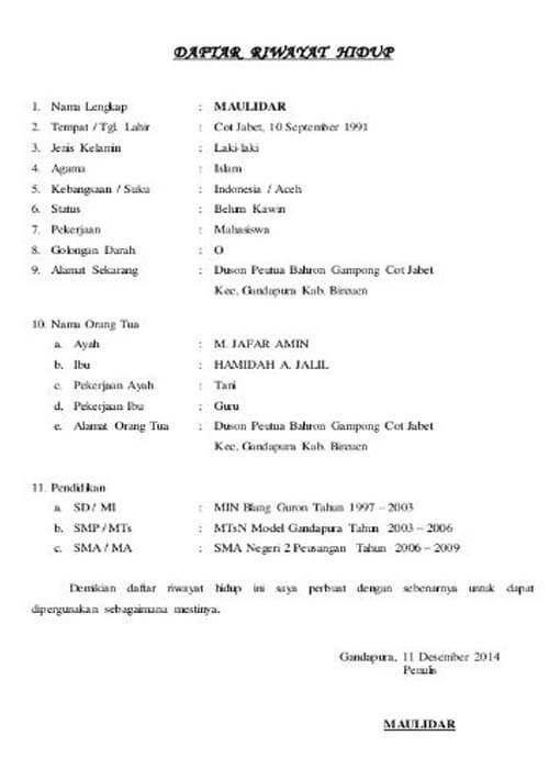 Contoh Daftar Riwayat Hidup Dan Pengertian Daftar Riwayat Hidup