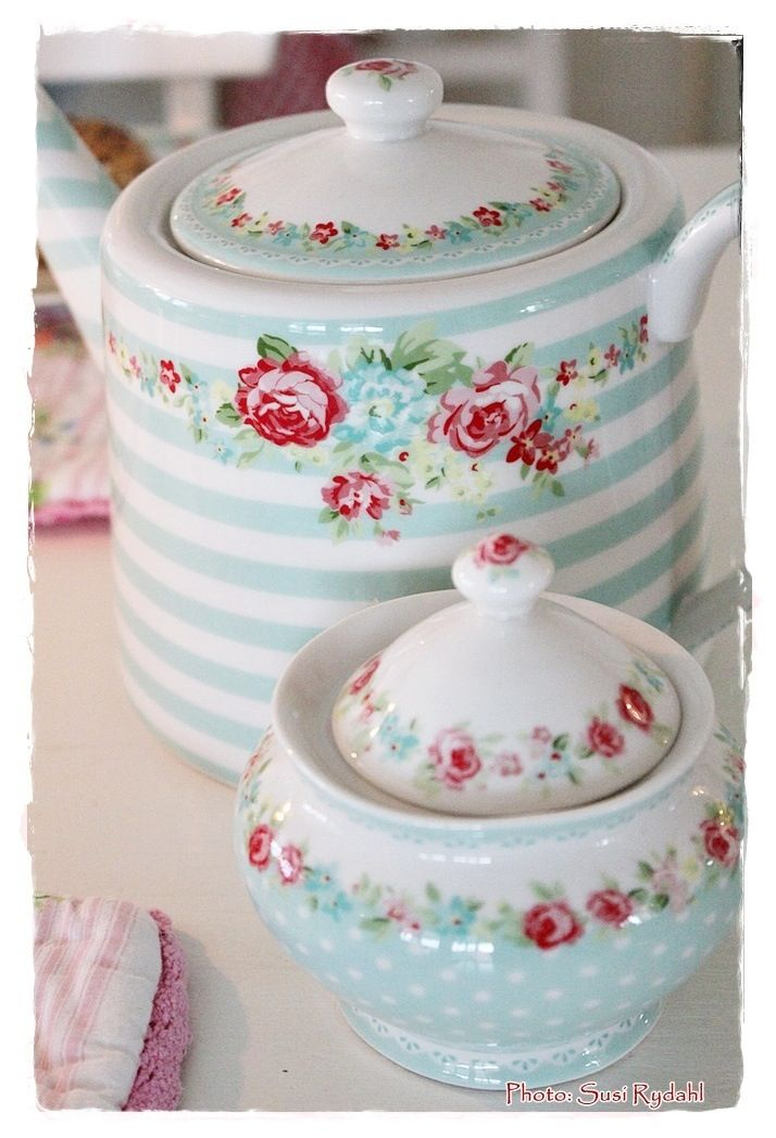 Greengate (Danish brand). Dishwasher- and microwave-safe. Teapot is roughly $59.73 and sugar bowl is roughly $21.17.