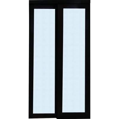 359 47 Truporte Grand 2230 Series 72 In X 80 In Composite Espresso 1 Lite Tempered Frosted Gl Sliding Doors Interior Frosted Glass Door Sliding Closet Doors