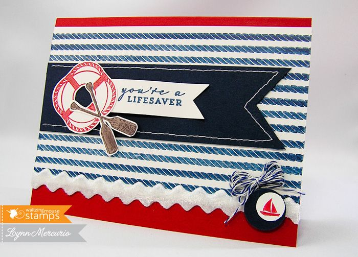 "Life Saver Stamps: Tying the Knot and Ocean Bound (Waltzingmouse Stamps) Paper: White, Cherry Red, In the Navy (GKD) Ink: Nautical Blue and Love Letter Luxe, Rick Cocoa (Memento) Accessories: Velvet Ric-Rak Ribbon (May Arts), Sew Mini Sewing Machine (Janome), 1/2 & 3/4"" Circle Punch (SU!), Bakers Twine   Read more: http://www.splitcoaststampers.com/gallery/photo/2408786#ixzz2bfQYhdsK"