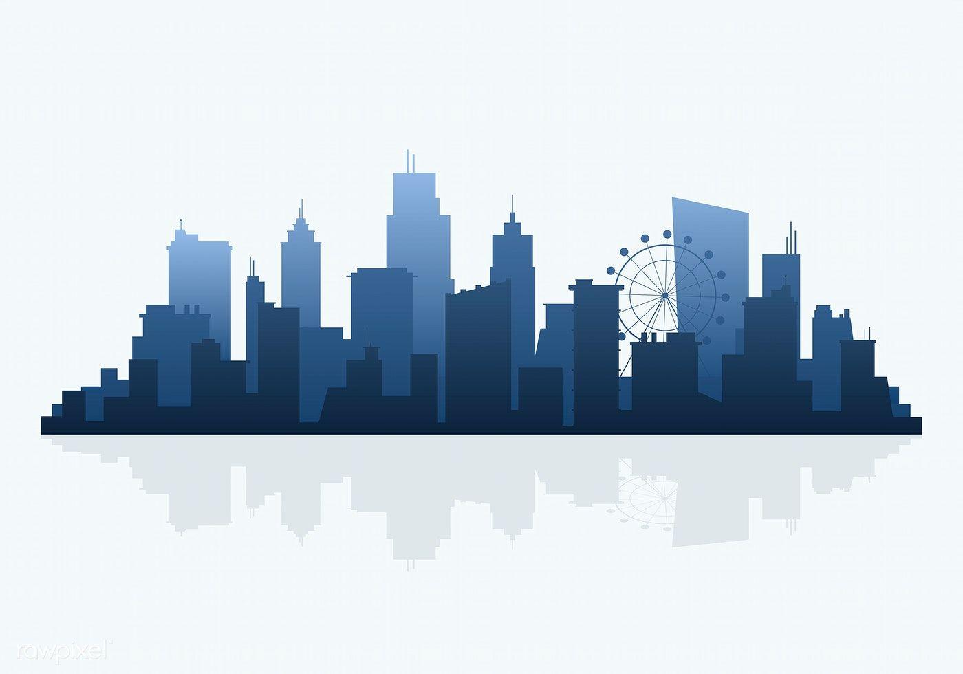 Blue Silhouette Cityscape Background Vector Free Image By Rawpixel Com Aum Ide Menggambar Pemandangan Kreatif