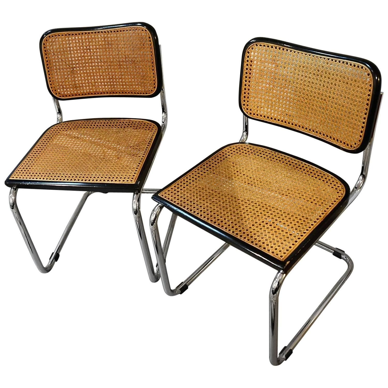 Vintage Set Of Original Marcel Breuer Cesca Chairs For Knoll,
