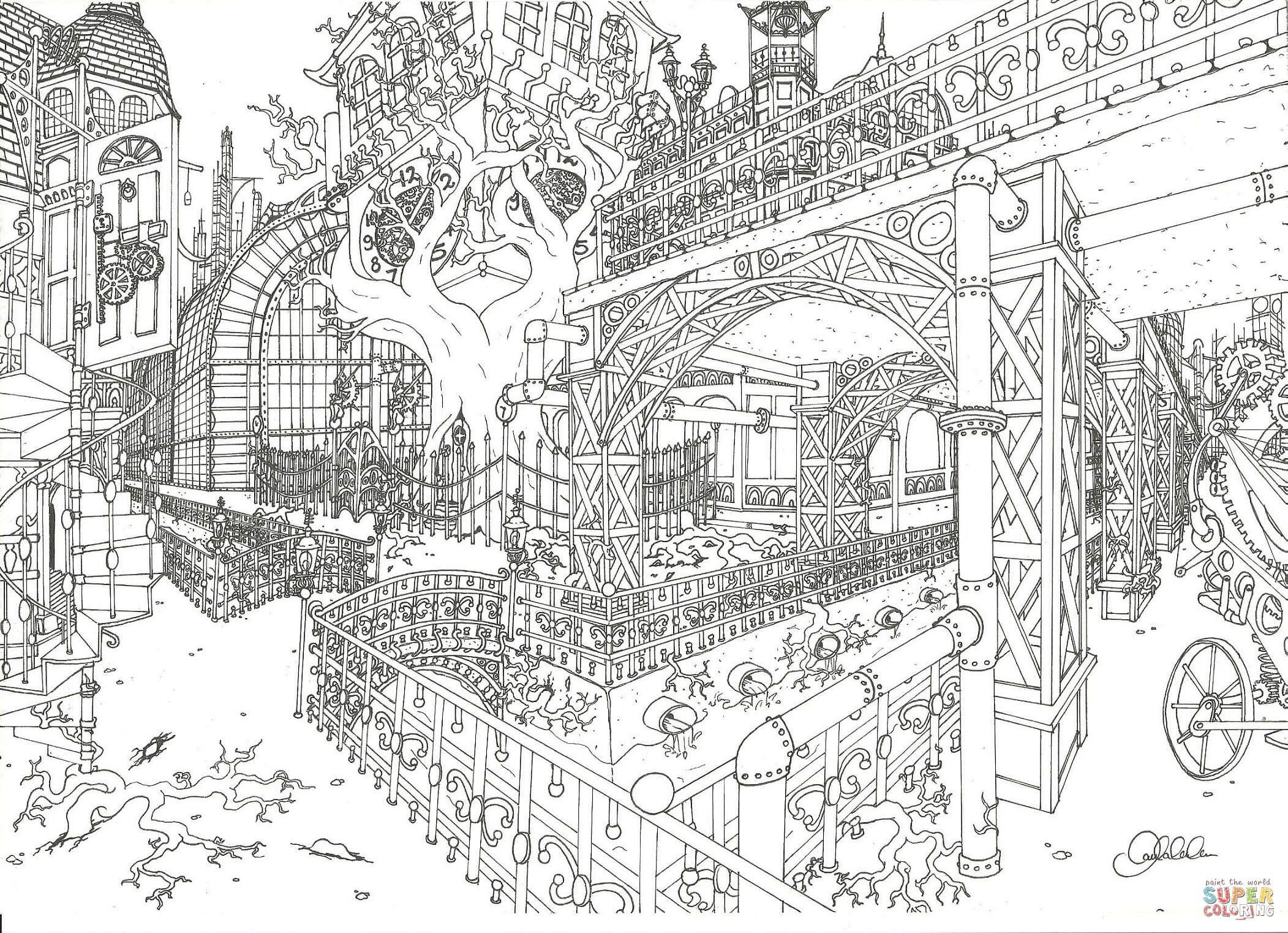 City Coloring Pages Coloringtop Com Steampunk Coloring