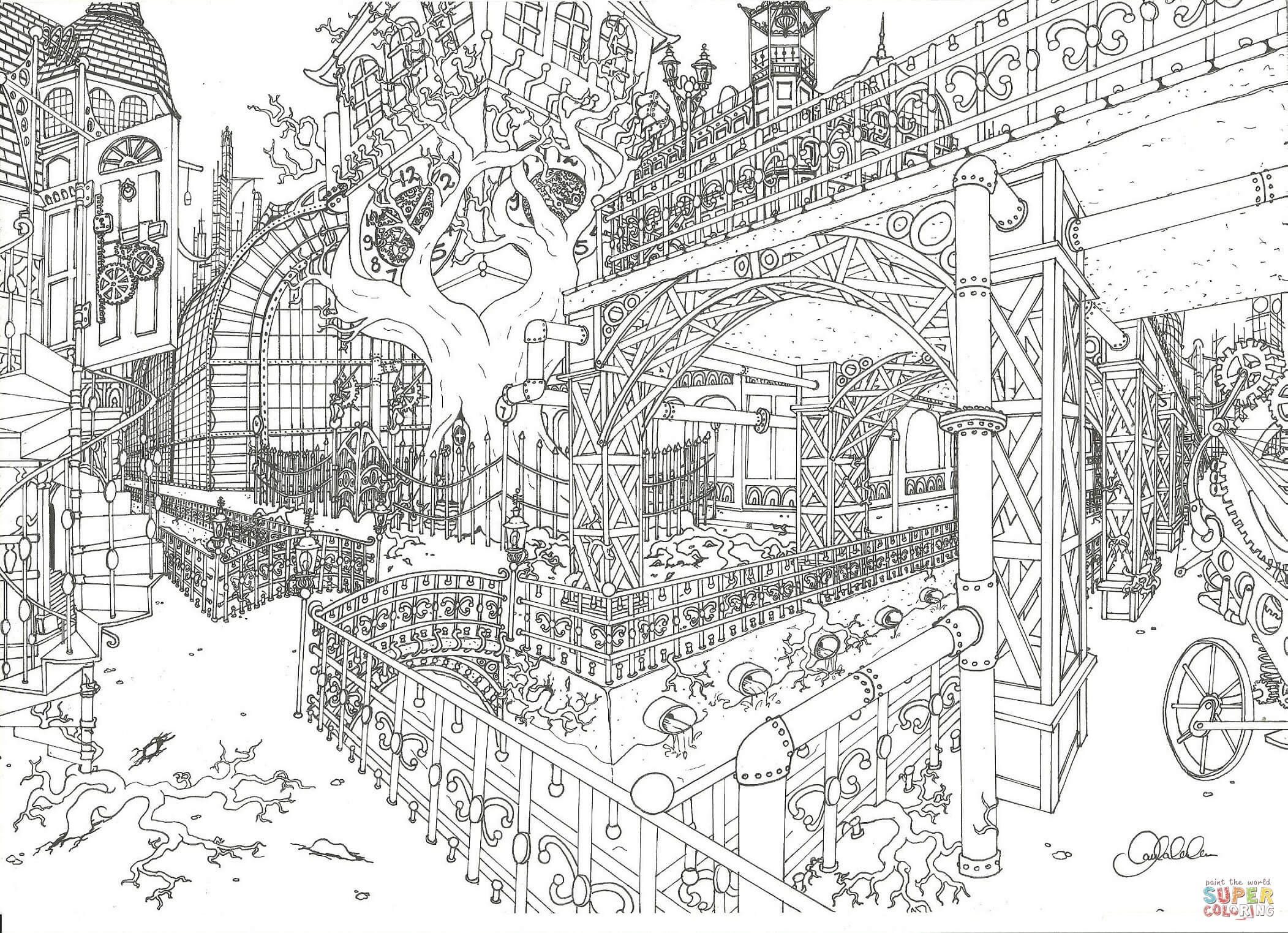 City Coloring Pages Coloringtop Com Steampunk Coloring