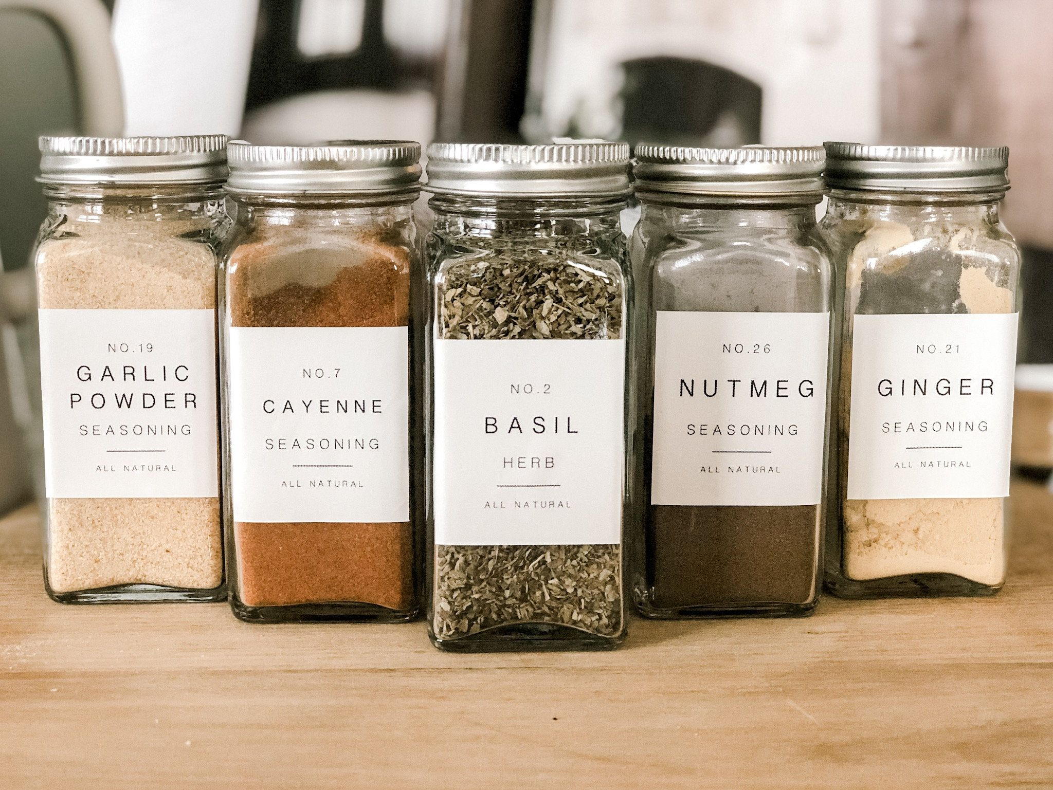Spice Labels / Farmhouse Spice Labels/ Organization / Christmas Gift /  Water & Oil Resistant / Square or Round   Spice labels, Pantry labels, Spice  bottles