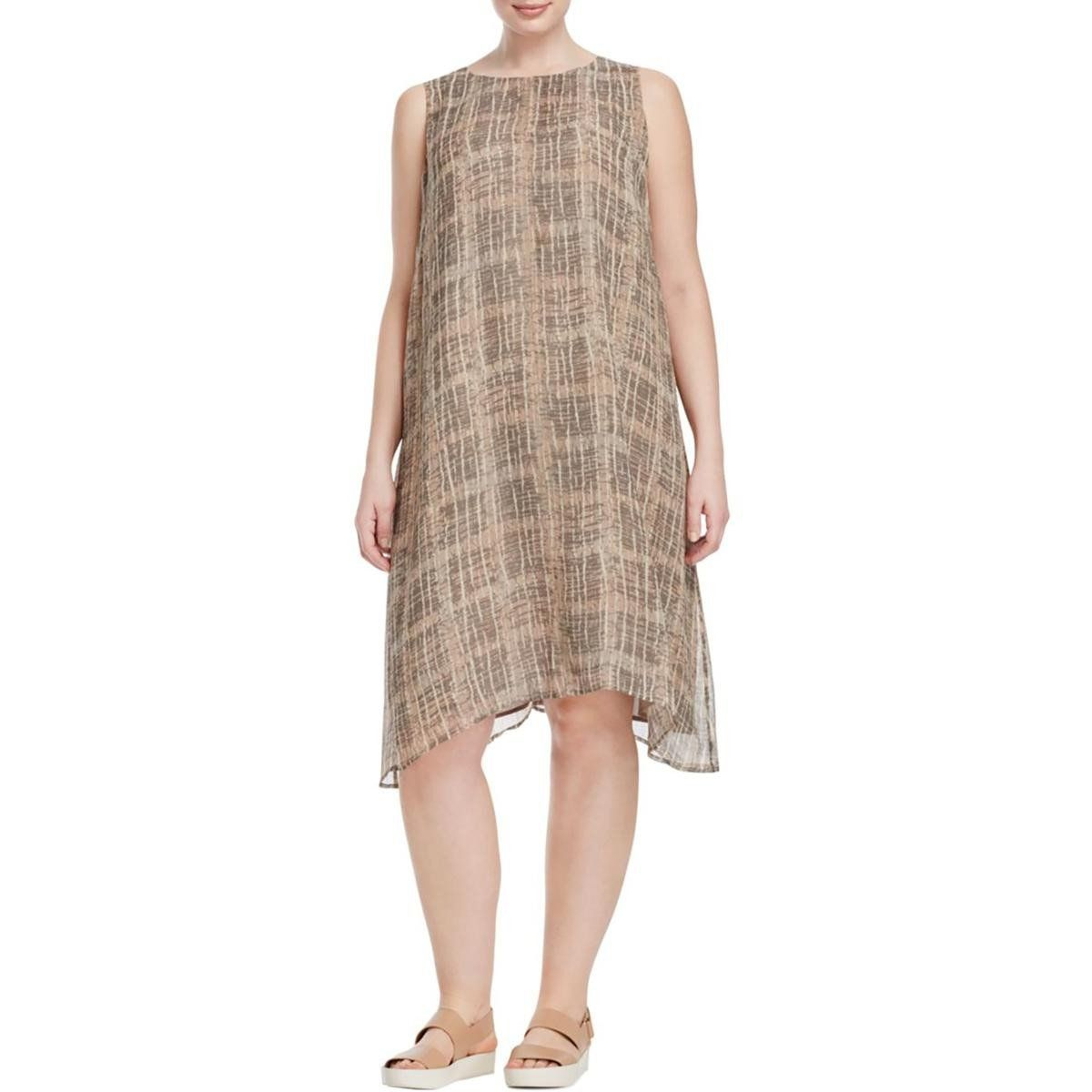 Eileen Fisher Womens Plus Silk Pattern Casual Dress | Products ...