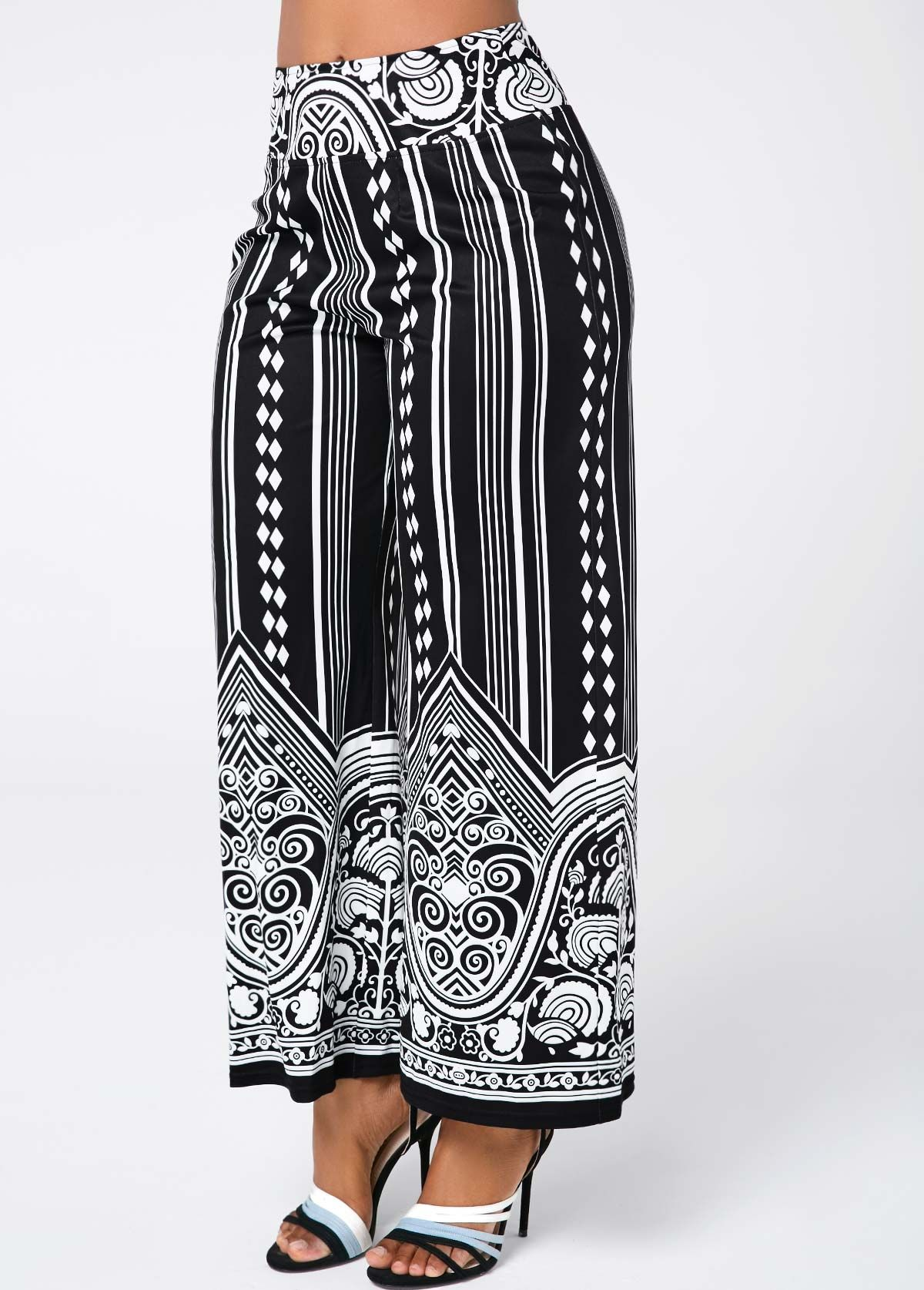 d150821c976 Tribal Print High Waist Black Pants
