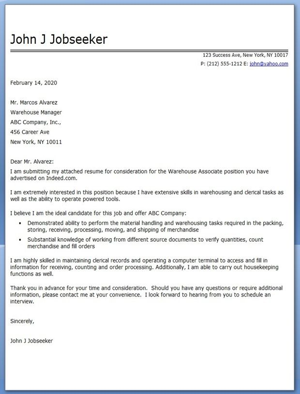 Warehouse Associate Cover Letter | Cover Letter for Resume ...