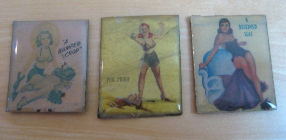 3 Pin Up Girl Vintage Matchbook Cover Handmade by shirarabstract, $12.99