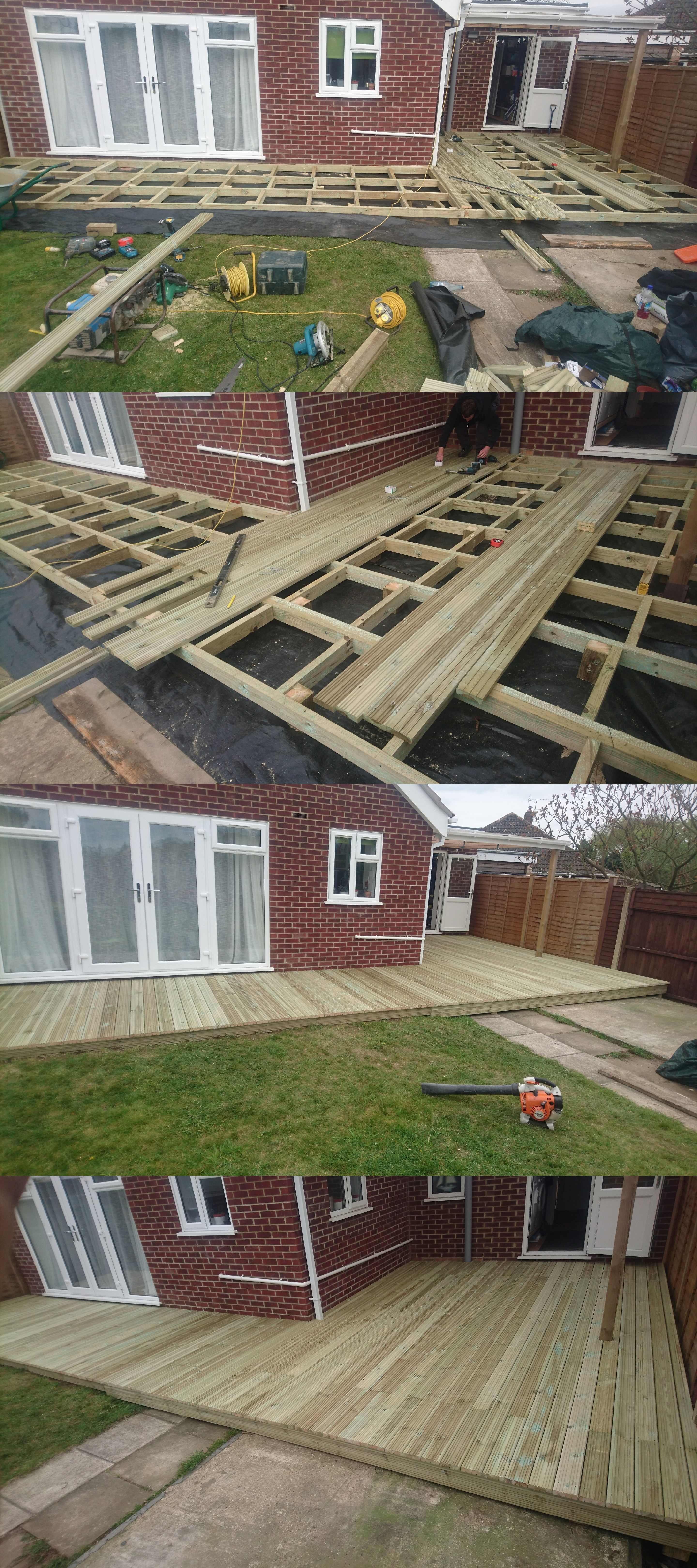 Big L shaped decking built around bungalow. # ... on L Shaped Patio Ideas id=43148