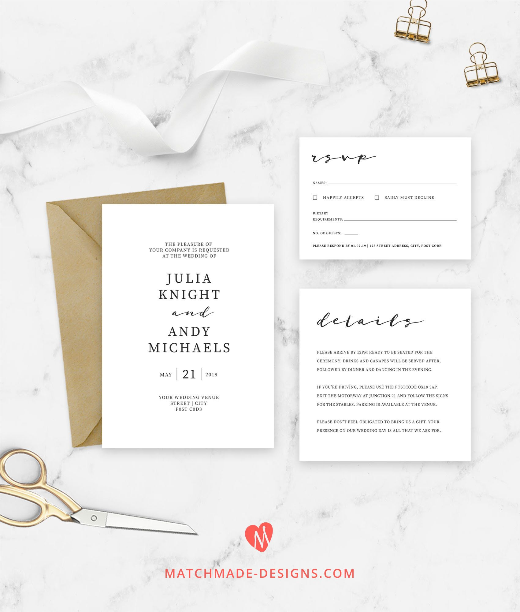 modern wedding invite Save the Date edit online Corjl editable online URBAN MINIMALIST \u2013 spring wedding invitation template TWO-W453