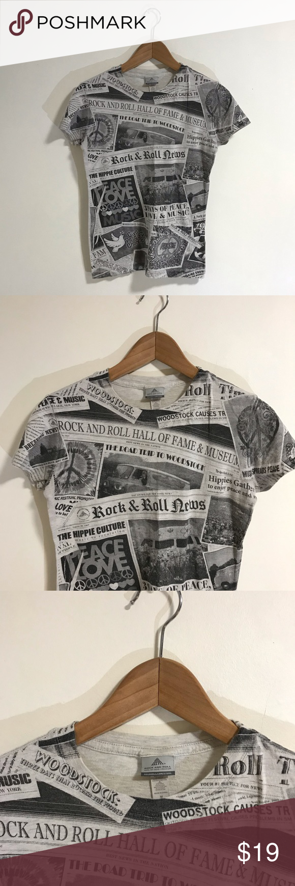 "Rock And Roll Hall Of Fame Newspaper T-Shirt Rock And Roll Hall Of Fame Newspaper T-Shirt Size Medium Great used condition 90% cotton 10% polyester All offers considered   Approximate measurements  Shoulder to shoulder: 14.5"" Pit to pit: 16"" Shoulder to hem: 23"" Tops Tees - Short Sleeve #rockandrolloutfits"