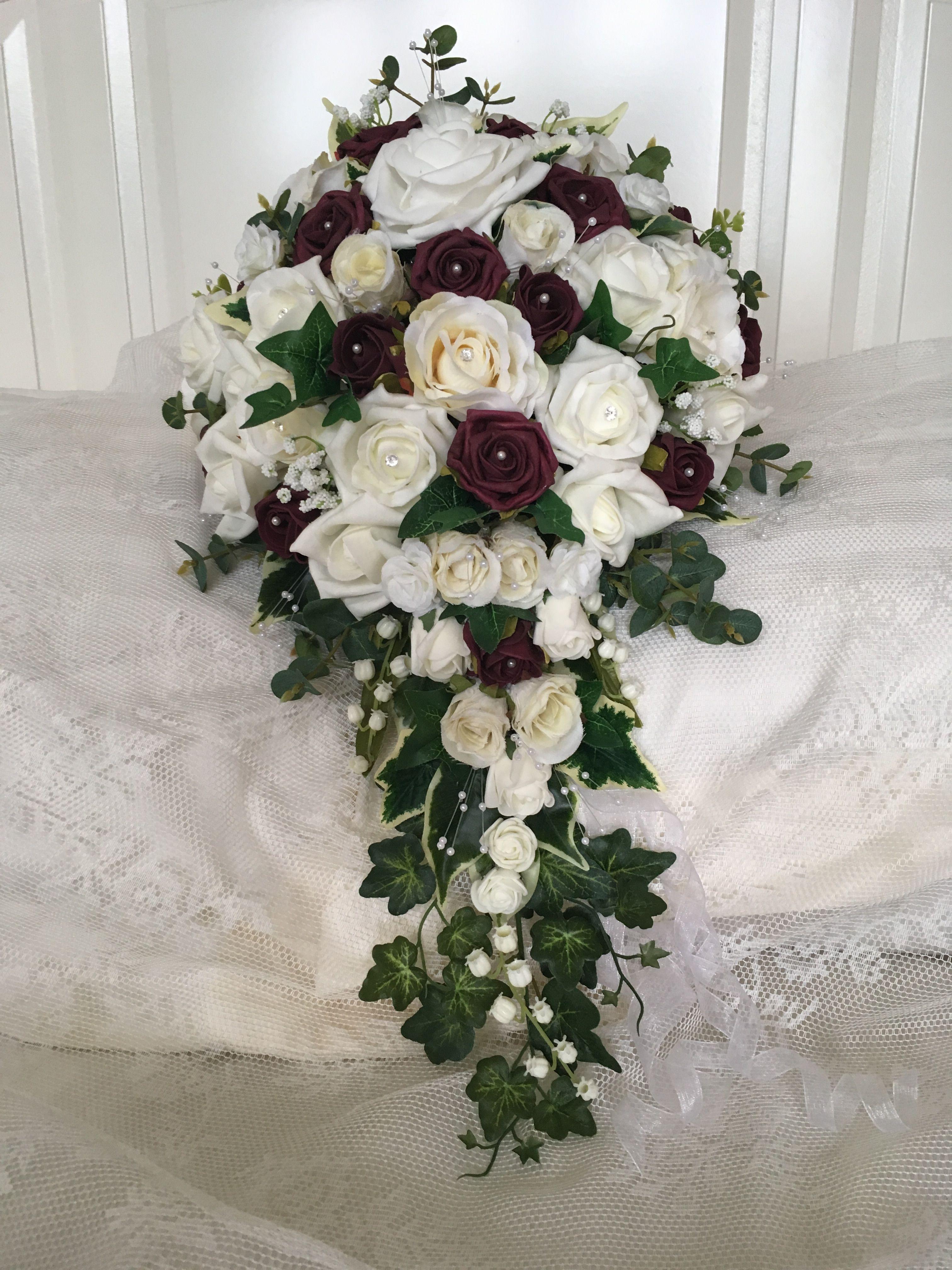 Cascading ivory cream & burgundy roses , one I made myself