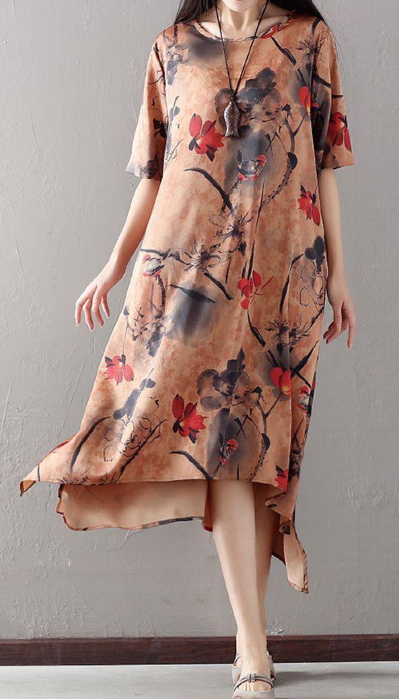 Women Loose Fitting Over Plus Size Graffiti Pattern Dress Long Maxi