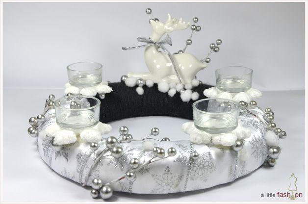 traumhafter adventskranz in silber wei dekoracje bo e. Black Bedroom Furniture Sets. Home Design Ideas