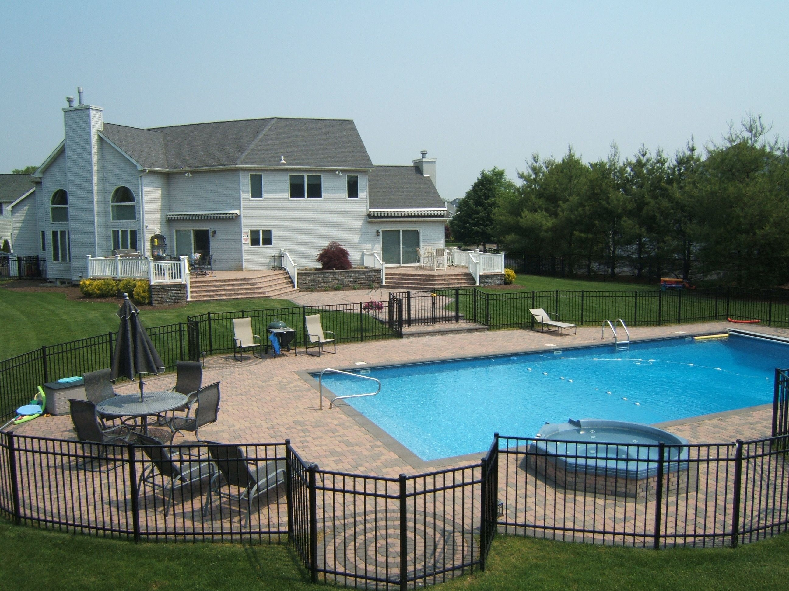 Award Winning Back Yard Wirth Combination Of Swimming Pools, Patios, Raised  Patio And Stairs