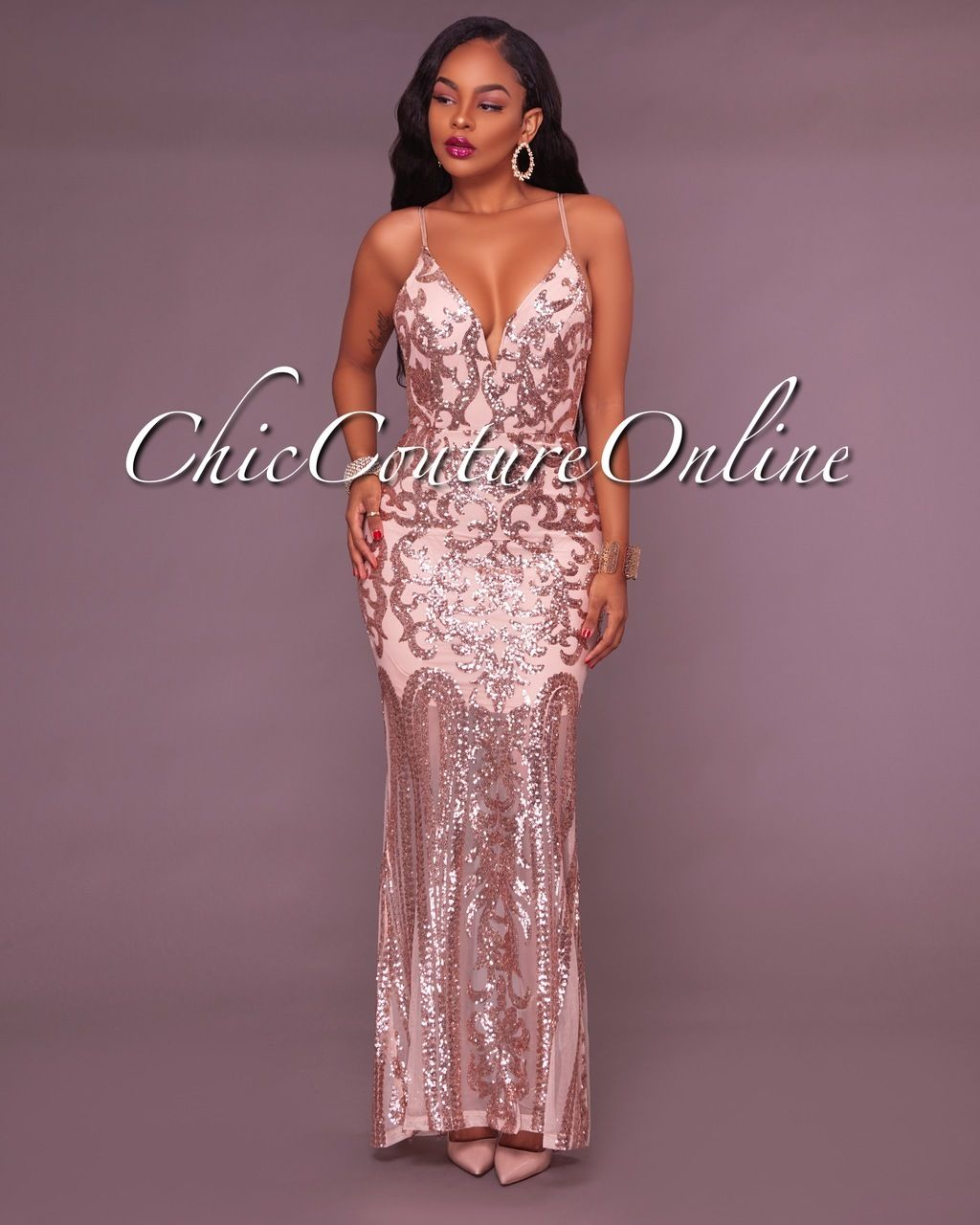 Louane Nude Rose Gold Sequins Gown   Clothing ~ Chic Couture Online ...