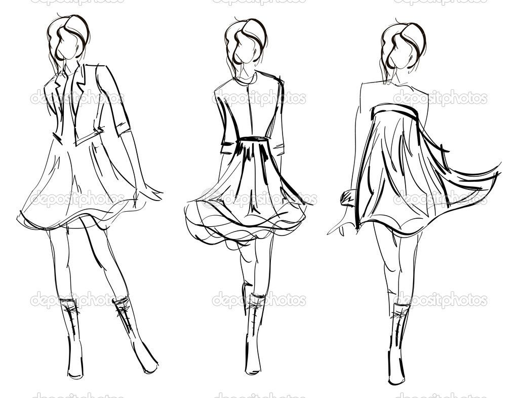 Model Girl Drawing Hand drawn fashion model Stock