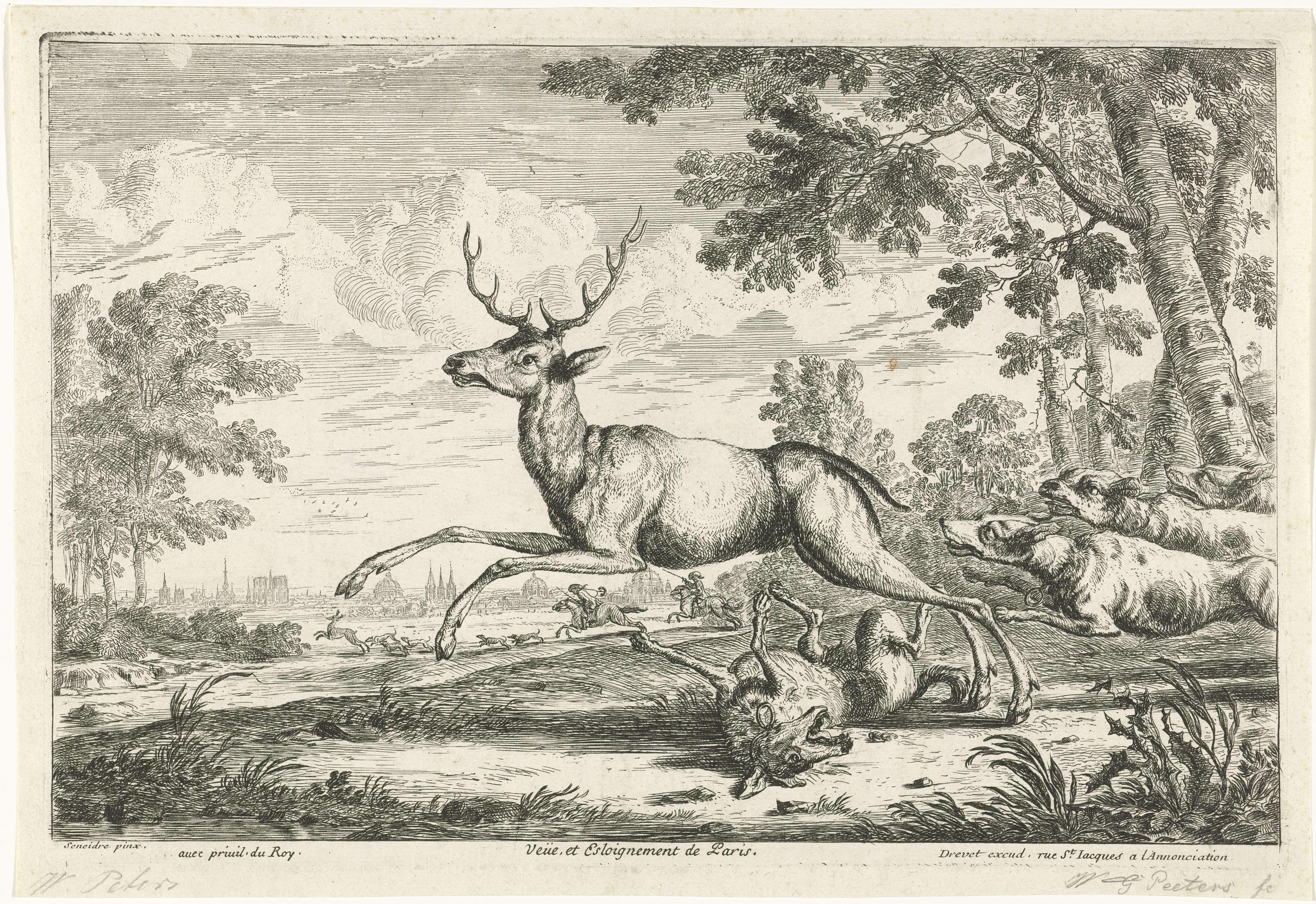 Gillis Peeters (I) | Hertenjacht, Gillis Peeters (I), Drevet, unknown, 1622 - 1653 | Landschap met een hertenjacht. Links op de achtergrond een gezicht op Parijs. In de marge een onderschrift in het Frans.